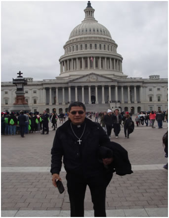 Father Nohe in front of the Capitol